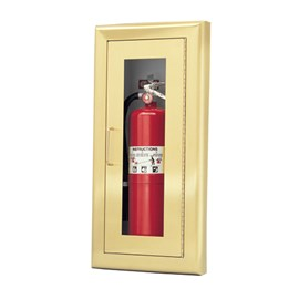 24 x 9.5 Inch Cabinet for up to 5 Lbs ABC Fire Extinguisher - Brass Door and Frame, Semi-Recessed, 1.5 Inch Trim
