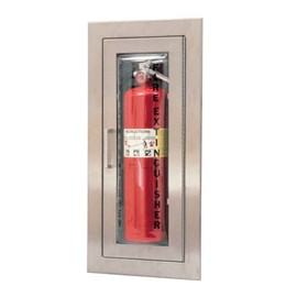24 x 9.5 Inch Cameo Series Cabinet for up to 10 Lbs ABC Fire Extinguisher - Brass Door and Frame, Semi-Recessed, 2.5 Inch Trim