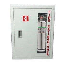 27 x 20 Inch Cabinet for up to Two 20 Lbs ABC Fire Extinguishers - Stainless Steel Door and Frame, Semi-Recessed, 4 Inch Trim