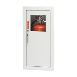 27 x 12 Inch Cabinet for up to 20 Lbs ABC Fire Extinguisher - Stainless Steel Door and Frame, Semi-Recessed, 1.25 Inch Trim