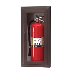 24 x 9.5 Inch Fire Rated Cabinet for up to 5 Lbs ABC Fire Extinguisher - Aluminum Door and Frame, Semi-Recessed, 2.5 Inch Trim