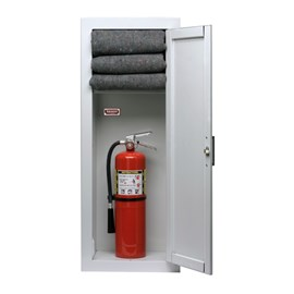 36 x 12 Inch Fire Rated Gemini Series Fire Blanket and Extinguisher Cabinet - Semi-Recessed, 4 Inch Stainless Steel Trim