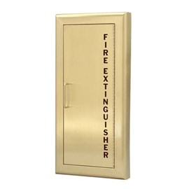 24 x 9.5 Inch Fire Rated Cabinet for up to 10 Lbs ABC Fire Extinguisher - Brass Door and Frame, Semi-Recessed, 2.5 Inch Trim