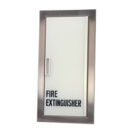 27 x 12 Inch Fire Rated Gemini Series Cabinet for up to 20 Lbs ABC Fire Extinguisher -  Semi-Recessed, 4 Inch Stainless Steel Trim
