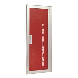 36 x 12 Inch Fire Rated Gemini Series Cabinet for up to 20 Lbs ABC Fire Extinguisher -  Semi-Recessed, 4.5 Inch Stainless Steel Trim