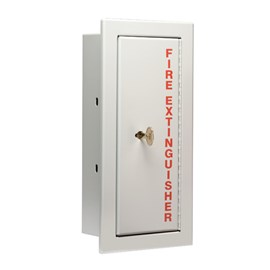 24 x 9 Inch Detention Cabinet for 10 Lbs ABC Fire Extinguisher- Stainless Steel Door and Frame, Semi-Recessed, 3.5 Inch Trim