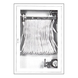 38 x 24 Inch Fire Rated Cabinet for 75 Ft Fire Hose, Rack and Separate 2.5 Inch Valve - Steel Door and Frame, Recessed