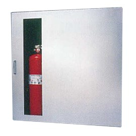 32 x 32 Inch Fire Rated Occult Series Cabinet for 100 Ft Fire Hose, Rack and Extinguisher- Stainless Steel Door, Recessed, 0.625 Inch Trim
