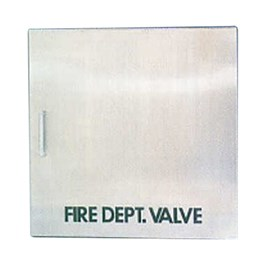 18 x 18 Inch Fire Rated Occult Series Cabinet for Fire Dept Valve- Stainless Steel Door, Recessed, 0.625 Inch Trim