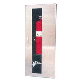 40 x 16 Inch Fire Rated Occult Series Cabinet for Fire Dept Valve and up to 10 Lbs ABC Extinguisher- Aluminum Door, Recessed, 0.625 Inch Trim
