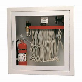 30 x 30 Inch Fire Rated Cabinet for 100 Ft Fire Hose, Rack and Extinguisher- Aluminum Door and Frame, Semi-Recessed, 2.5 Inch Trim