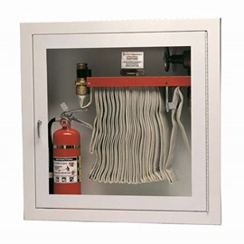 32 x 32 Inch Fire Rated Cabinet for 100 Ft Fire Hose, Rack and Extinguisher- Stainless Steel Door and Frame, Semi-Recessed, 1.25 Inch Trim