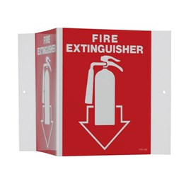 V-Shaped Sign - FIRE EXTINGUISHER with Picture of Extinguisher on Red Background