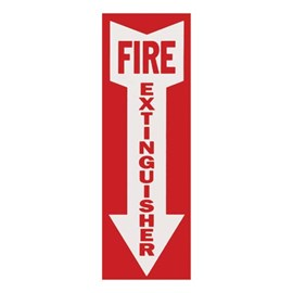 Flat Surface Mount Sign - FIRE EXTINGUISHER in White Down Arrow on Red Background