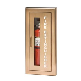 27 x 12 Inch Cabinet for up to 20 Lbs ABC Fire Extinguisher - Brass Door and Frame, Semi-Recessed, 2.5 Inch Trim