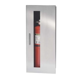 24 x 9.5 Inch Fire Rated Occult Series Cabinet for up to 10 Lbs ABC Fire Extinguisher - Stainless Steel Door, Recessed